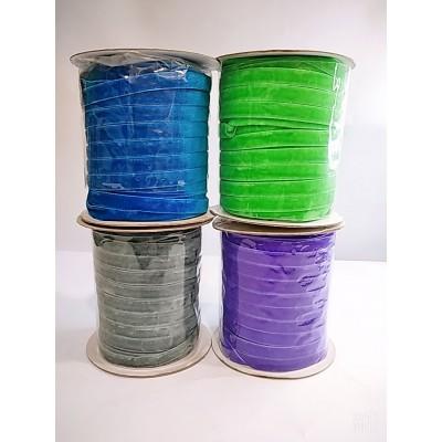 Косая бейка велюровая бархатная 1см, 50 ярдов, цвета разные, цена за бобину