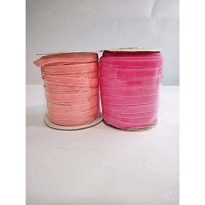 Косая бейка велюровая бархатная 1см, 50 ярдов, цвет малиновый и персиковый, цена за бобину