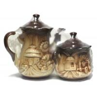 """Набор для чая керамический """"Чайник с сахарницей"""", объём 0,7/0,25 л, Украина, цвета в ассортименте"""