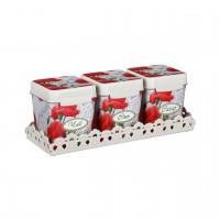 Набор емкостей МАКИ 1,2 л (чай, сахар, соль) на подставке, с ложками