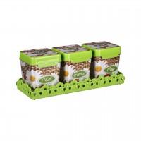 Набор емкостей ПЛЕТЕНКА 1,2 л (чай, сахар, соль) на подставке, с ложками