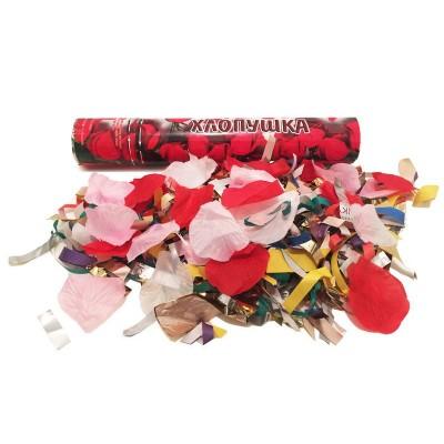 Хлопушки свадебные пневматические с лепестками роз, фольгой и серпантином