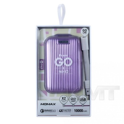 Momax (IP58) iPower Go mini 3 QC3.0 & Dual USB Power Bank (10000 mAh)  — Red