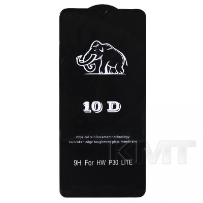 Защитное стекло 10D Huawei P30 Lite ; Nova 4e (Black)