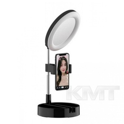 Лампа кольцевая LED G3 16 см на телескопической подставке — Black