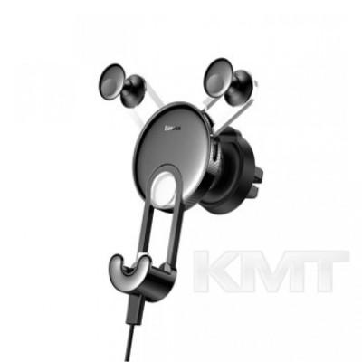 Baseus YY vehicle-mounted phone charging holder with USB cable  — Black