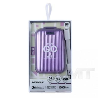 Momax (IP58) iPower Go mini 3 QC3.0 & Dual USB Power Bank (10000 mAh)  — Purple