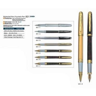 Ручка  мет. перо  BAIXIN FP-801 (зол. / мрамор )