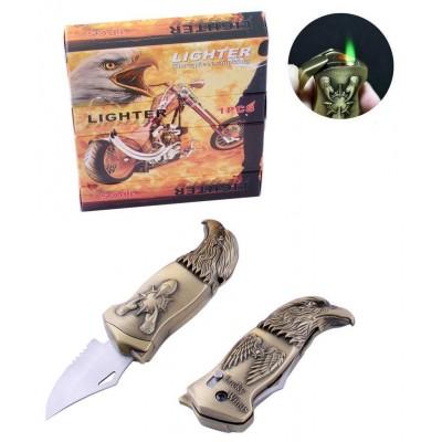 Зажигалка газовая с ножом Орел (Турбо пламя) №XT-4977 Gold