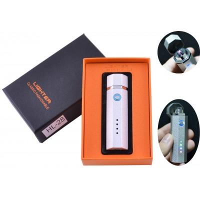 Электроимпульсная зажигалка в подарочной упаковке Lighter (Двойная молния, USB) №HL-28 White