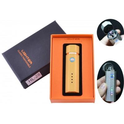 Электроимпульсная зажигалка в подарочной упаковке Lighter (Двойная молния, USB) №HL-28 Gold