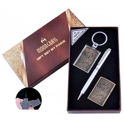 Подарочный набор Шхуна Ручка/ Брелок/ Зажигалка (Острое пламя) №AL-203D-2