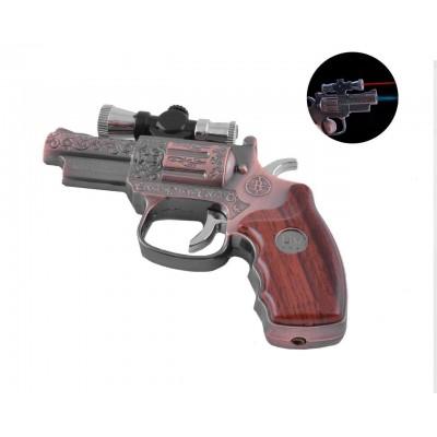 Зажигалка газовая пистолет Револьвер (Острое пламя, Лазер) №3936 Black