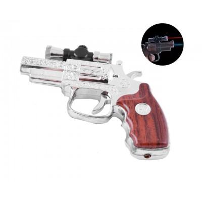 Зажигалка газовая пистолет Револьвер (Острое пламя, Лазер) №3936 Silver