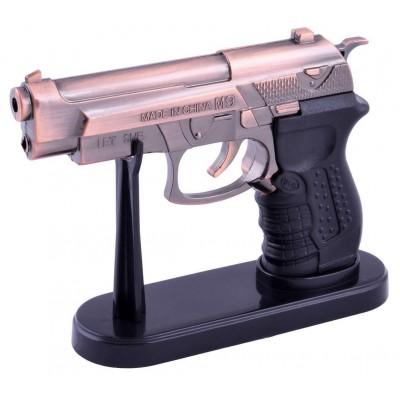 Зажигалка сувенирная на подставке пистолет M9 (Острое пламя, Лазер) №4521