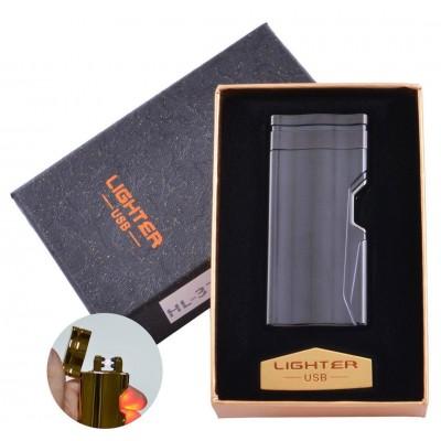 Электроимпульсная зажигалка в подарочной упаковке Lighter (Двойная молния, USB) №HL-37 Black