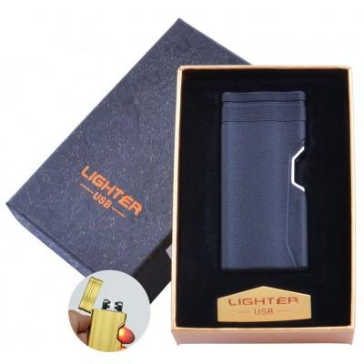 Электроимпульсная зажигалка в подарочной упаковке Lighter (Двойная молния, USB) №HL-38 Black