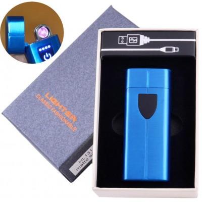 Электроимпульсная зажигалка в подарочной коробке LIGHTER (USB) №HL-131 Blue