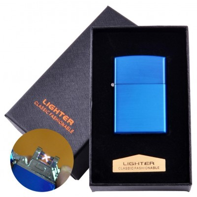 Электроимпульсная зажигалка в подарочной коробке LIGHTER (USB) №HL-136 Blue