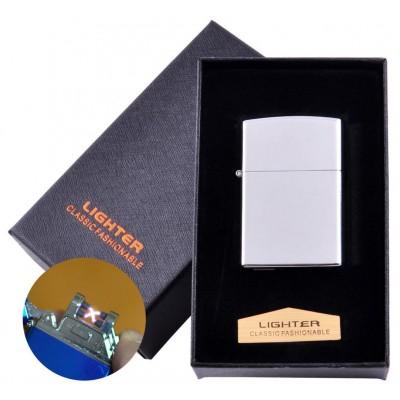 Электроимпульсная зажигалка в подарочной коробке LIGHTER (USB) №HL-136 Silver