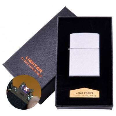 Электроимпульсная зажигалка в подарочной коробке LIGHTER (USB) №HL-137 White
