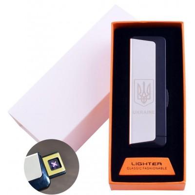 Электроимпульсная зажигалка в подарочной упаковке Ukraine (Двойная молния, USB) №HL-62 Silver