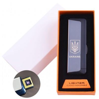 Электроимпульсная зажигалка в подарочной упаковке Ukraine (Двойная молния, USB) №HL-62 Black