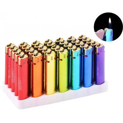 Зажигалка кремниевая пластиковая в металлическом корпусе  №T-2