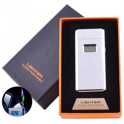 Электроимпульсная зажигалка в подарочной коробке Lighter (USB) №5005 Silver