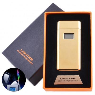 Электроимпульсная зажигалка в подарочной коробке Lighter (USB) №5005 Gold