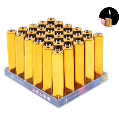 Зажигалка кремниевая пластиковая в металлическом корпусе  №018B