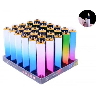 Зажигалка кремниевая пластиковая в металлическом корпусе  №018C