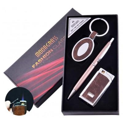 Подарочный набор брелок, ручка, зажигалка (Турбо пламя) №AL-608