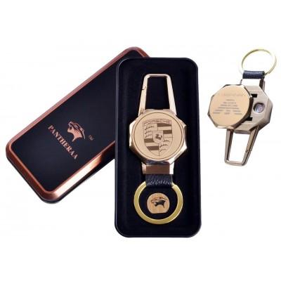USB зажигалка в подарочной металлической коробке (брелок + фонарик) №4687A