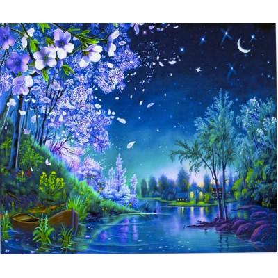 Картина по номерам 'Ночь' 40*50см,крас.-акрил,кисть-3шт. арт.:3233_B