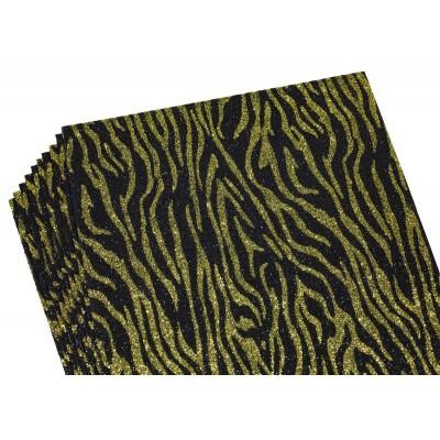 Фоамиран 2мм с глитером,  принт сердечки  золото с черным, 10513 арт.:10513