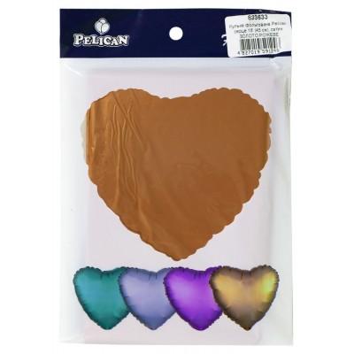 Шарик фольгированный PELICAN сердце 18 '(45см) сатин розовое золот (5ш арт.:833633