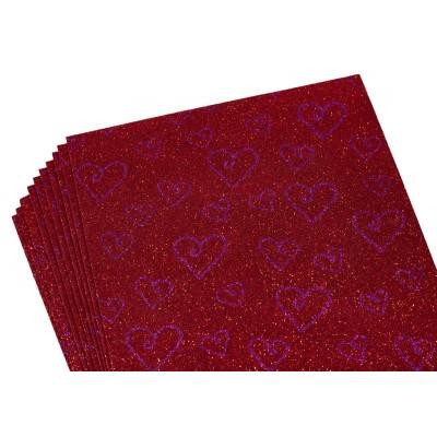 Фоамиран 2мм с глитером,  принт сердечки  фиолетовый с красным, 10517 арт.:10517