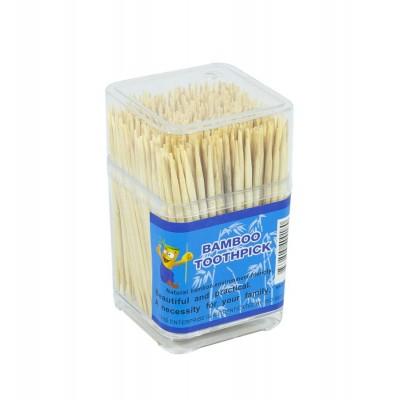 Зубочистки бамбуковые 400шт, в квадратном пластиковом футляре арт.:CP9068