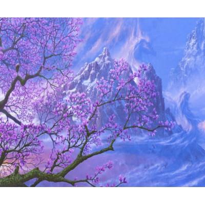Картина по номерам 'Цветущая сакура' 40*50см,крас.-акрил,кисть-3шт.(1* арт.:3394