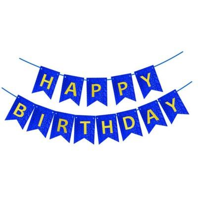 Гирлянда-флажки HAPPY BIRTHDAY 16см, синий 871054 арт.:871054