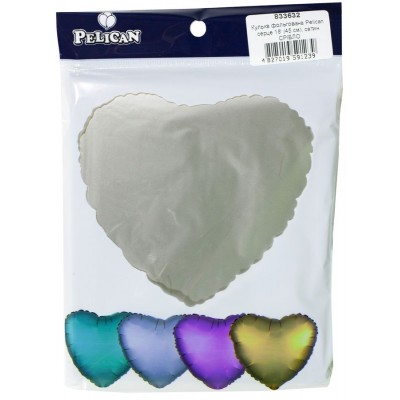 Шарик фольгированный PELICAN сердце 18 '(45см) сатин серебро (5шт) арт.:833632