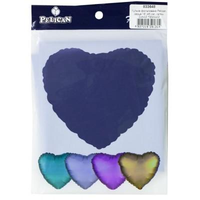 Шарик фольгированный PELICAN сердце 18 '(45см) сатин синий тем (5шт) арт.:833648