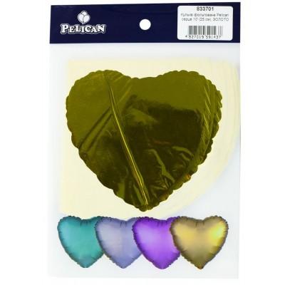 Шарик фольгированный PELICAN сердце 10' (25см) Золото (5шт) арт.:833701