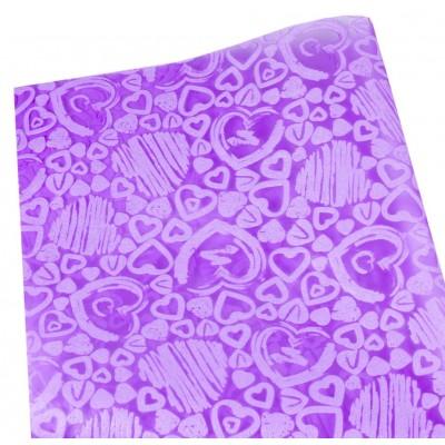 Флизелин 'Сердца' 55х60см-20шт-тиснёный в листах,сирень, PFD-H magenta арт.:PFD-H magenta
