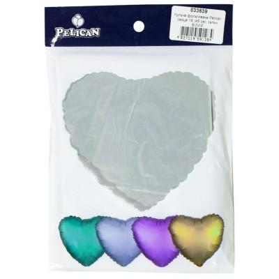 Шарик фольгированный PELICAN сердце 18 '(45см) сатин белый (5ш арт.:833639