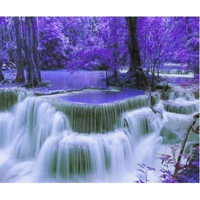 Картина по номерам 'Фиолетовый водопад' 40*50см,крас.-акрил,кисть-3шт. арт.:9385