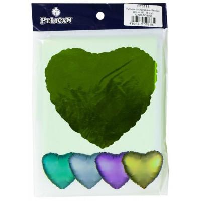 Шарик фольгированный PELICAN сердце 18 '(45см) Салатный (5шт) арт.:833611