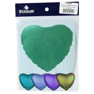 Шарик фольгированный PELICAN сердце 18 '(45см) сатин зеленый (5ш арт.:833640