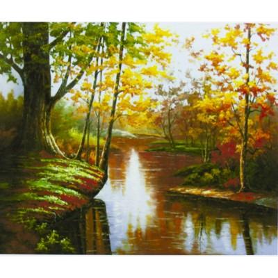 Картина по номерам 'Осенний пейзаж' 40*50см,крас.-акрил,кисть-3шт. арт.:9409